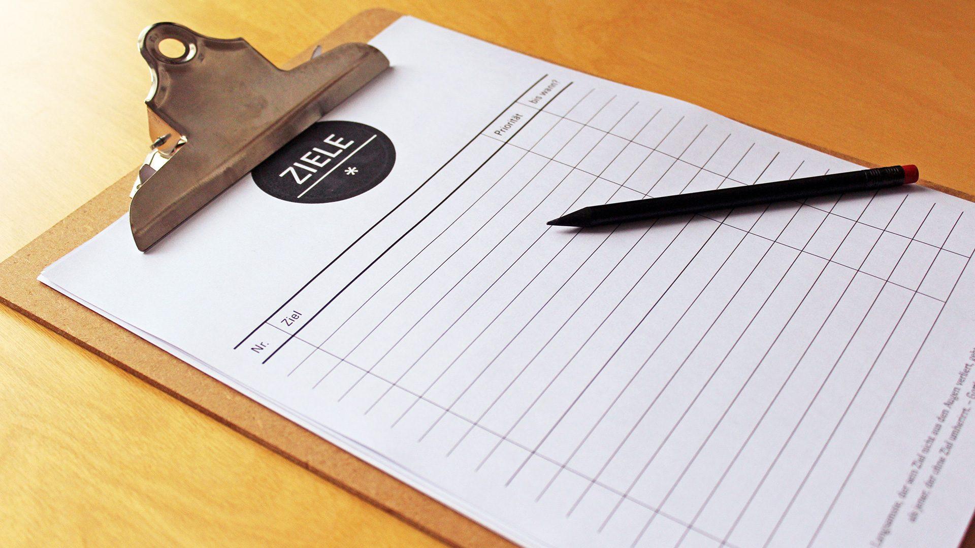 Foto Clipboard mit einem Ziele-Formular von Reklamebüro, Dortmund, Ziele